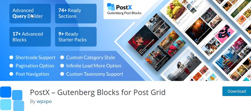 PostX Gutenberg Blocks for Post Grid plugin