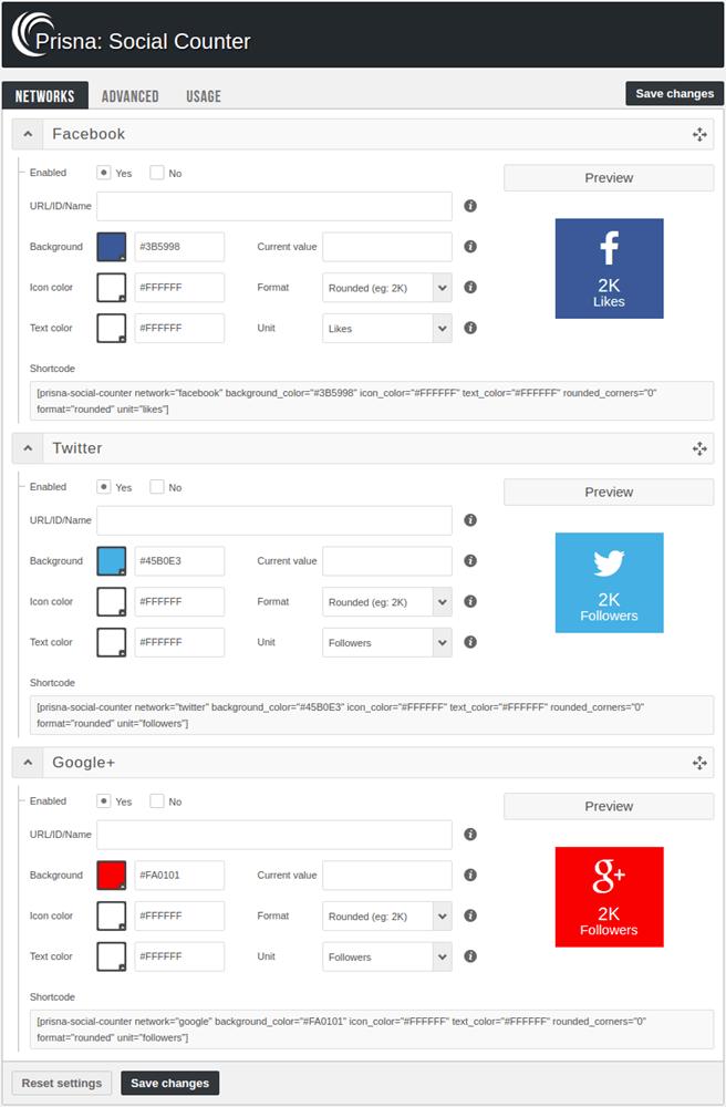 Prisna social counter plugin networks settings