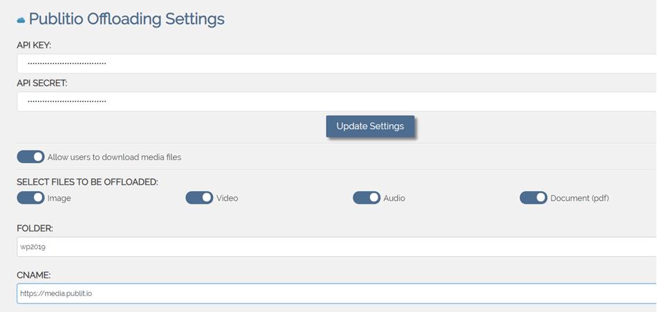 Publitio Offloading Setting