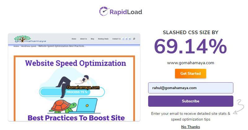 RapidLoad Unused CSS removal result