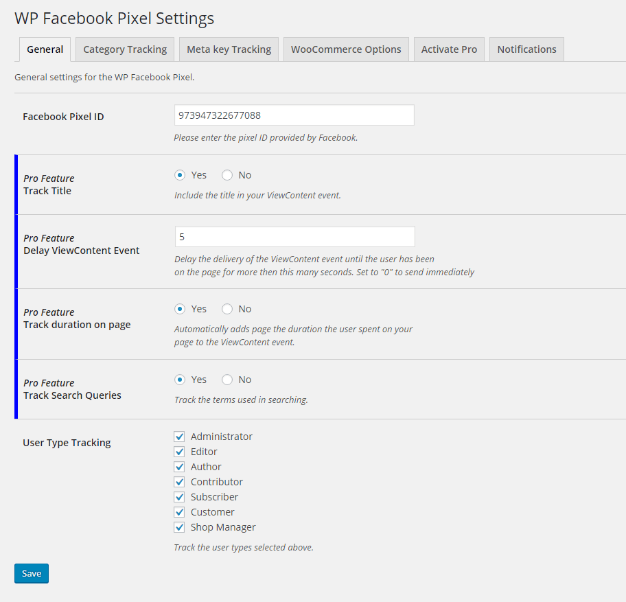 Remarketable WP Facebbok Pixel settings