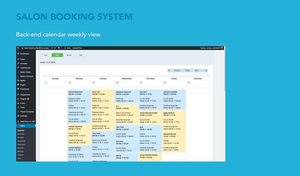 Salon Booking system wordpress plugin
