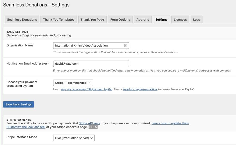 Seamless Donation plugin settings