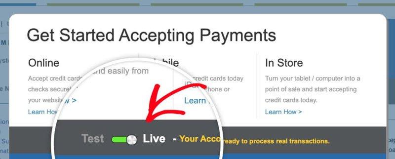 Set Authorize Net account to Live mode