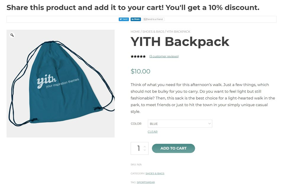 Share Product And Add It To Your Cart And Get 10% Discount Demo