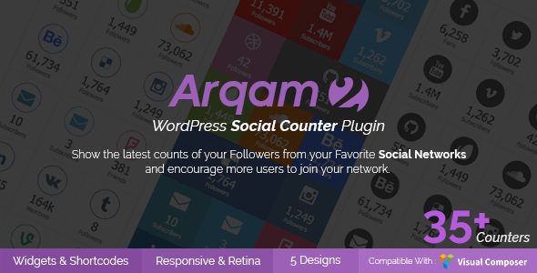 Social Counter Plugin for WordPress by Arqam