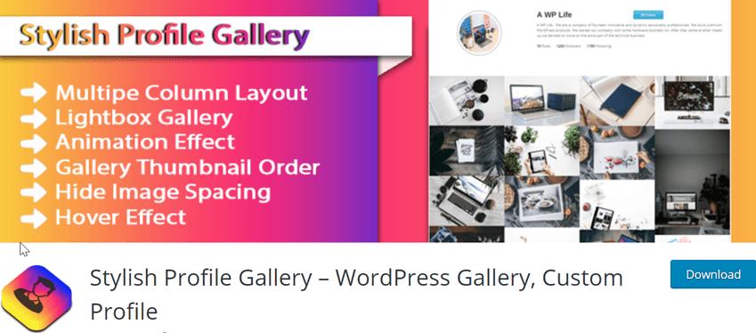 Stylish Profile Gallery – WordPress Gallery, Custom Profile