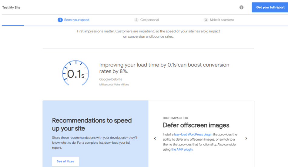 Think with Google test my site mobile site speed test report