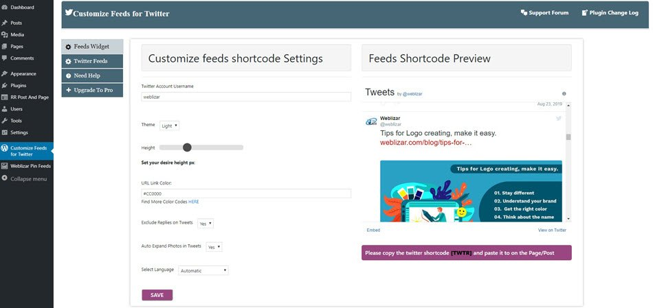Twitter Tweets customize feeds for Twitter feed widget preview