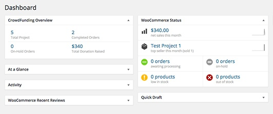 WP Crowdfunding dashboard crowdfunding overview