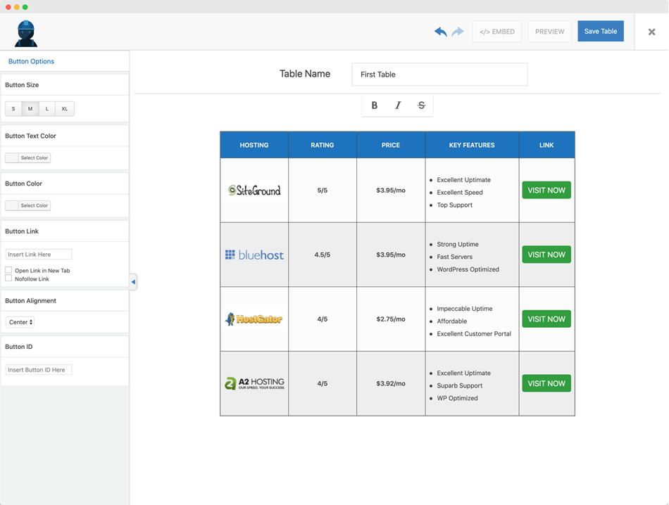 WP Table builder button in WP table builder