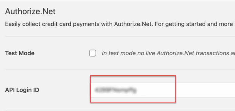 WPForms Authorize Net paste API Login Id