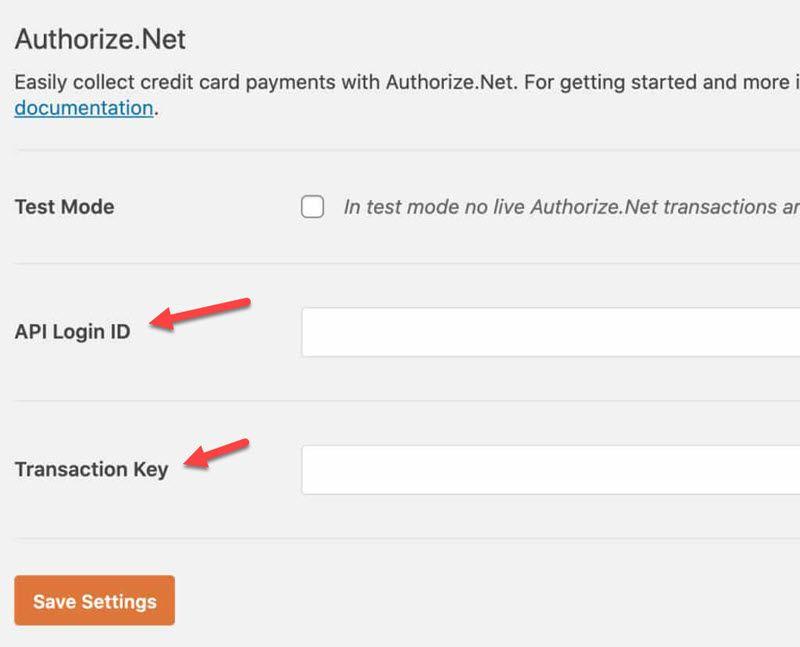 WPForms Authorize.Net enter API Login ID and Transaction Key