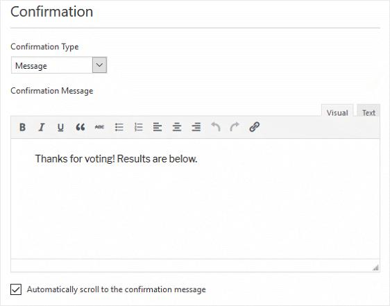 WPForms customize conformation message