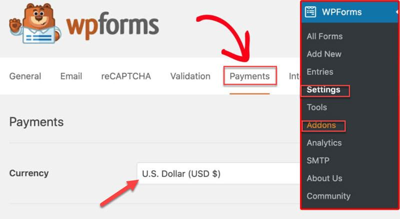 WPForms settings addons payments tab select currency