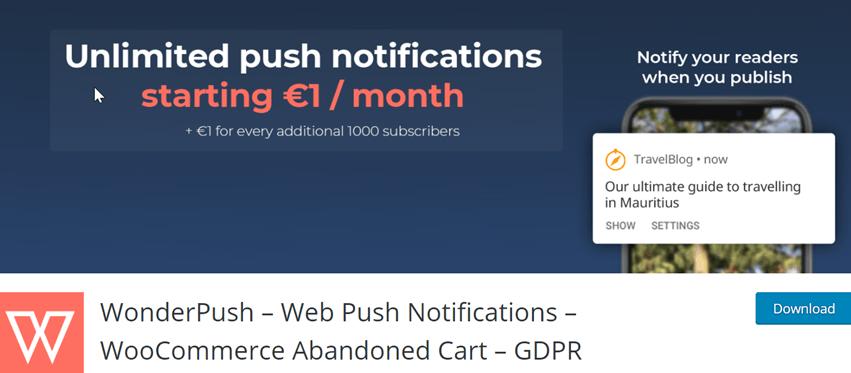 WonderPush – Web Push Notifications – WooCommerce Abandoned Cart – GDPR