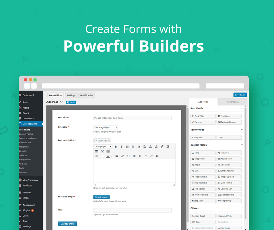 Wp User Frontend create form with powerful builders