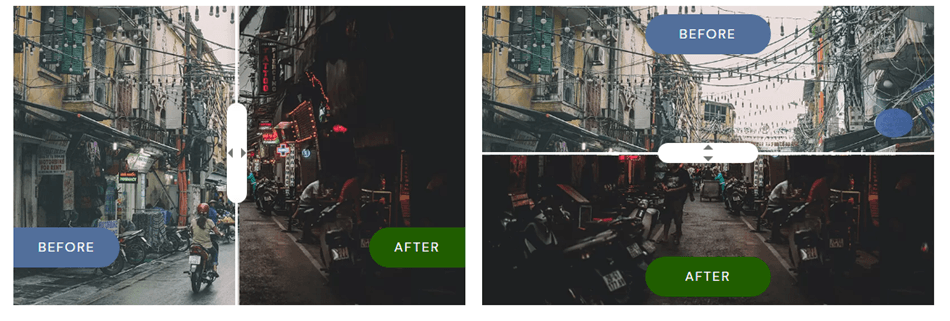 before and after slider image preview