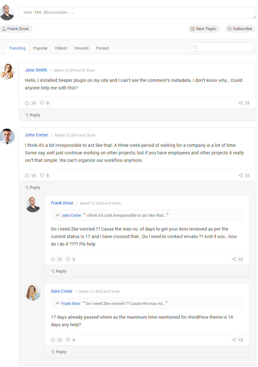 comment and their reply design template