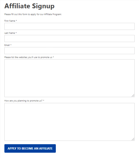 easy affiliate signup form
