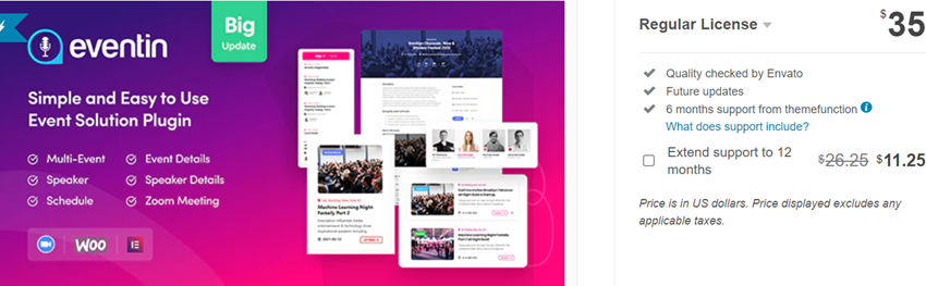 eventin - Events Manager & Tickets Selling Plugin for WooCommerce