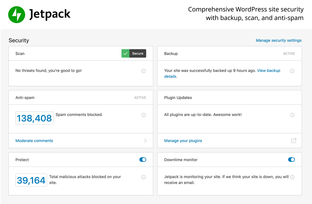 jetpack WP security backupspeed and growth security scan WordPress plugin