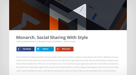 monarch social sharing with style above or below content