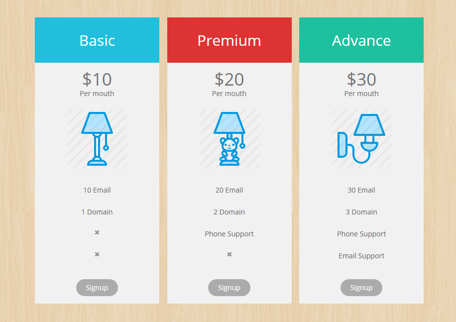 pricing table by PickPlugins demo table