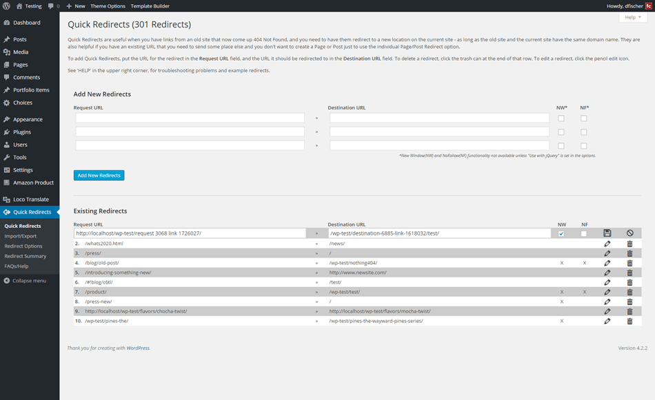 quick page or post redirect plugin setup page