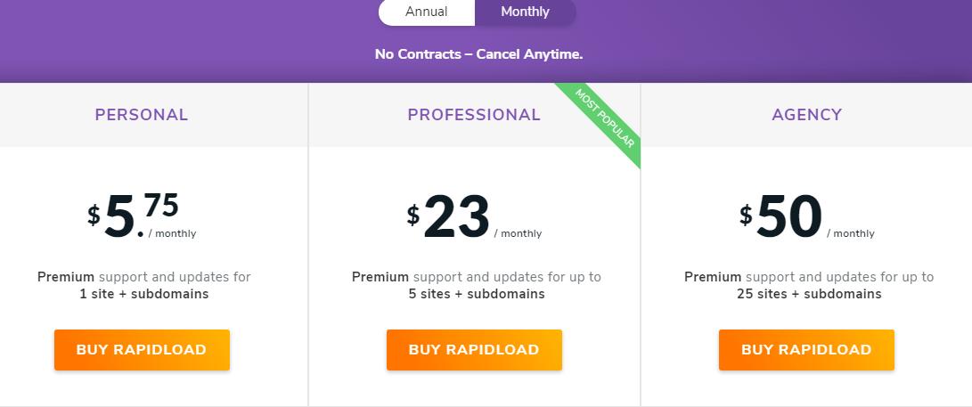 rapidload io pricing plan
