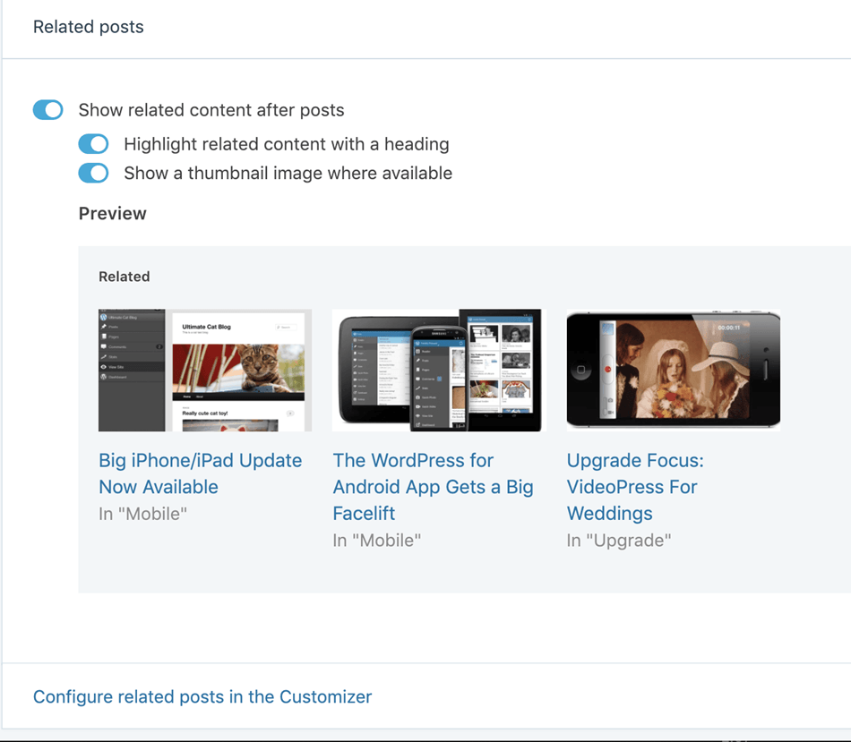 related post plugin by jetpack configure related post in the customizer