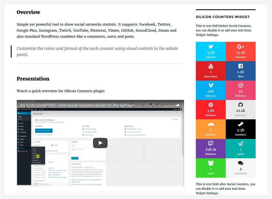 silicon counter plugin for wordpress counters for widgets