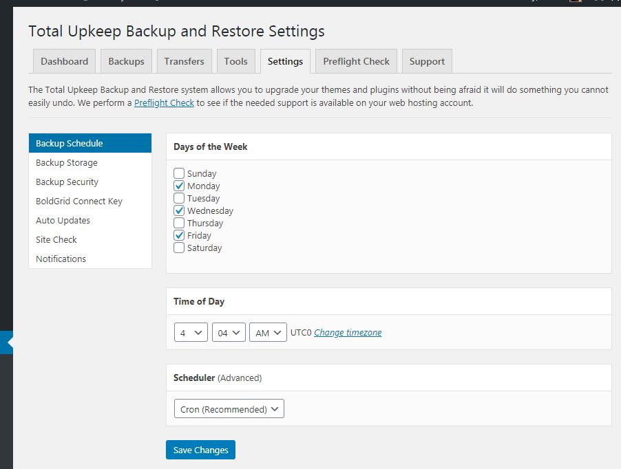 total upkeeep wordpress backup and restore settings backup schedule
