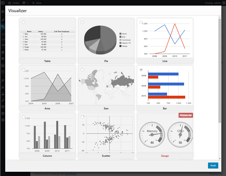 visualizer table and charts for wordpress chart selection