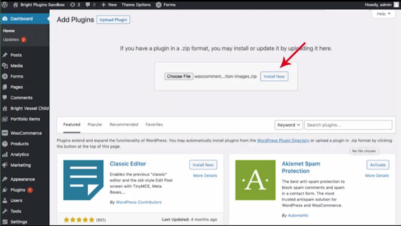 Bright Plugins dashboard add plugins upload plugin