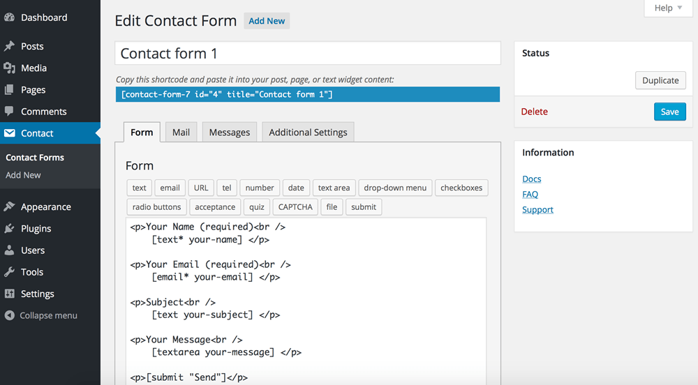 Contact form 7 WordPress plugin edit contact form
