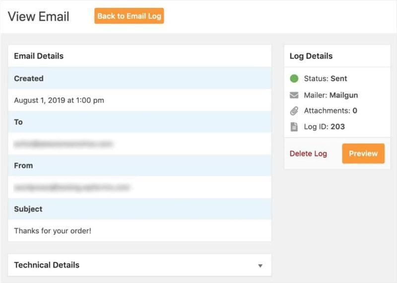 WordPress Email Log view individual email log details