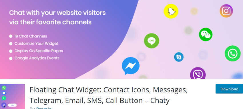 Floating Chat Widget- Contact Icons, Messages, Telegram, Email, SMS, Call Button – Chaty
