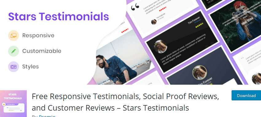 Free Responsive Testimonials, Social Proof Reviews, and Customer Reviews – Stars Testimonials