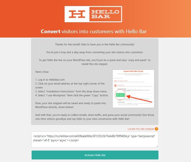 Hello Bar WordPress plugin