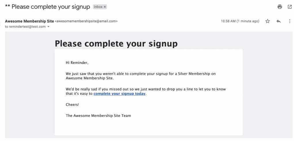 Incomplete signup email reminder
