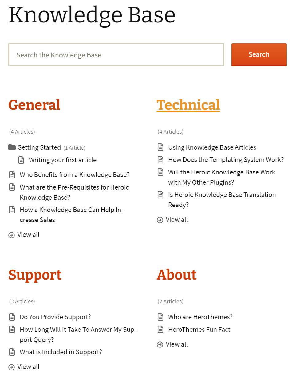 Knowledge Base Page Example