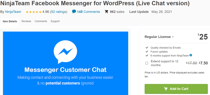 NinjaTeam Facebook Messenger for WordPress (Live Chat version)