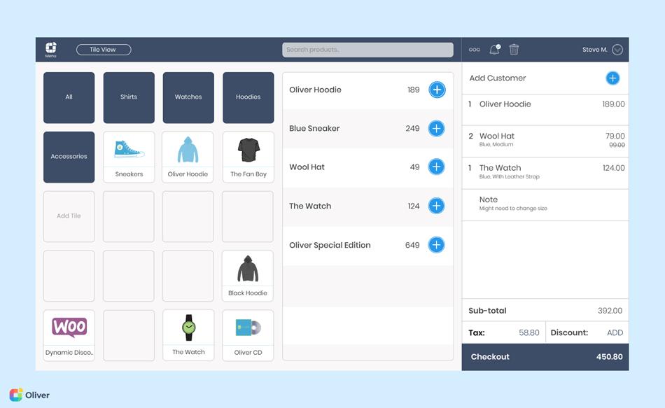Oliver POS register interface