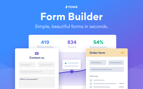 POWR contact form social feed pop up countdown timer and more form builder