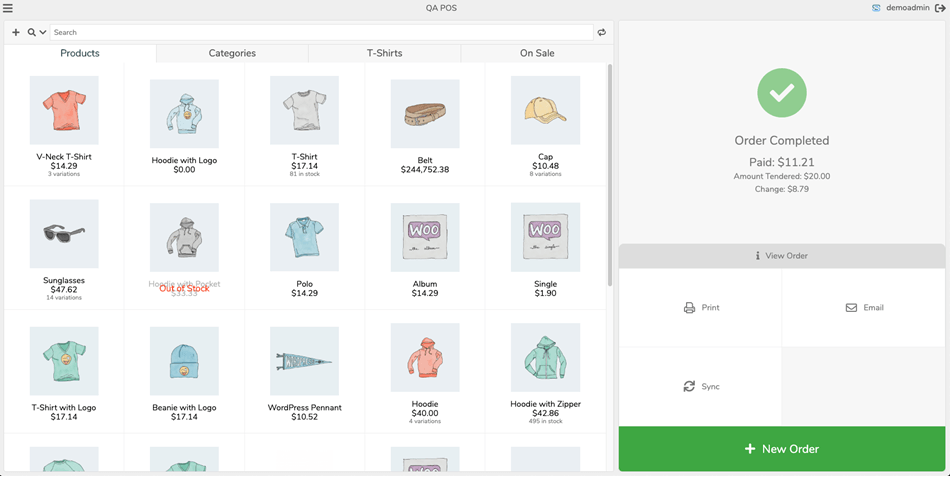 Point of Sale PoS for WooCommerce completed order view
