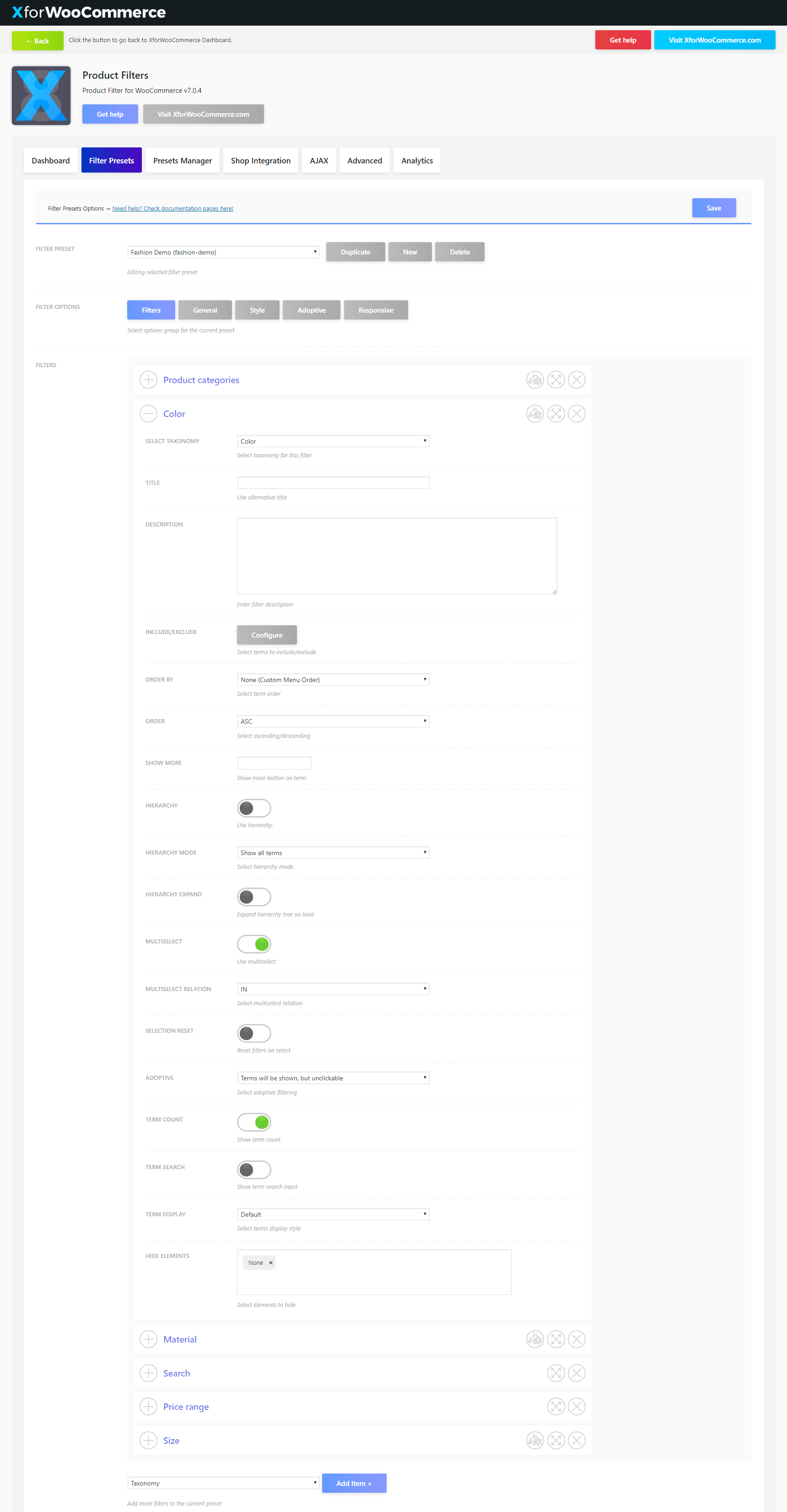 Product Filter For WooCommerce Filter Presets Setting