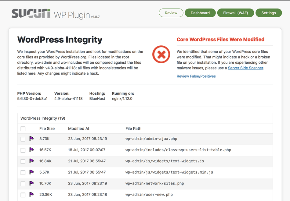 Sucuri Security scanner auditing malware scanner and security hardening WordPress integrity tool detects add and remove files