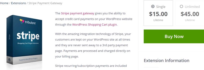 Tribulant Stripe Payment Gateway