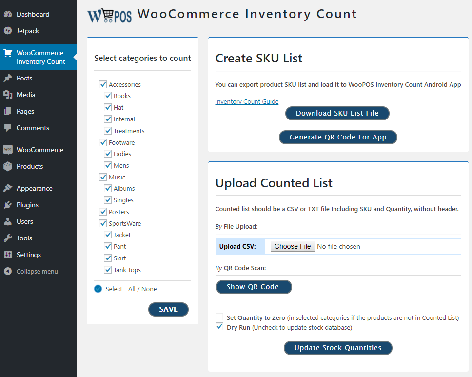 Woo inventory count WooCommerce POS inventory count main screen
